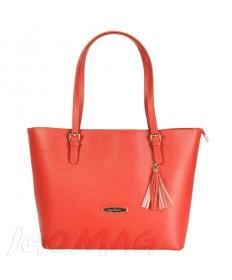 Pierre Cardin - Włoska klasyczna torebka skórzana pomarańczowa (2130)