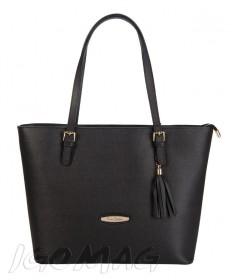 Pierre Cardin - Włoska klasyczna torebka skórzana czarna (2132)
