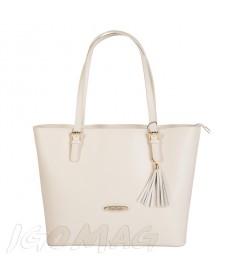 Pierre Cardin - Włoska klasyczna torebka skórzana biała (2136)